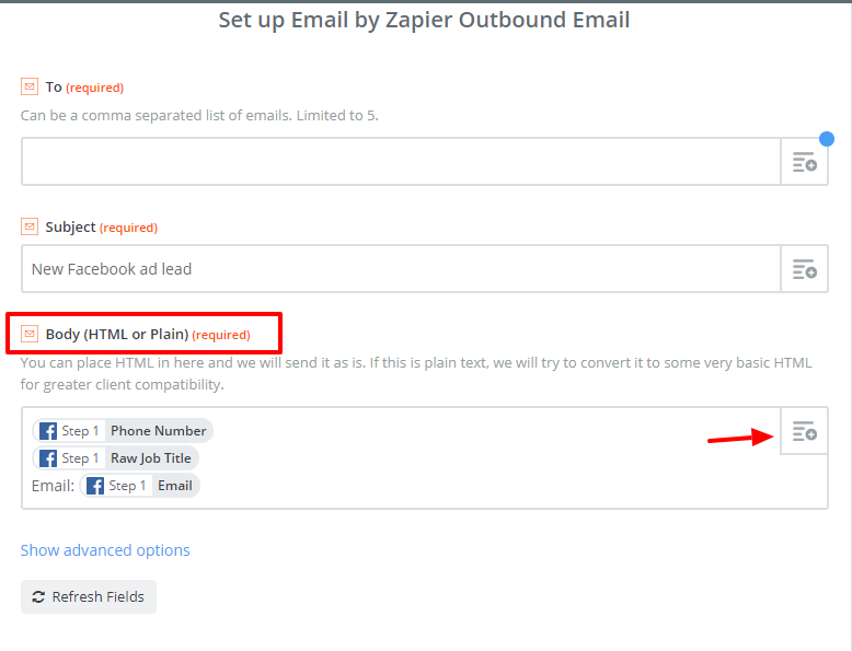 Set up Email by Zapier Outbound Email