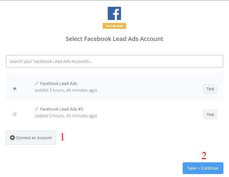 Kết nối tới tài khoản Facebook Lead Ads